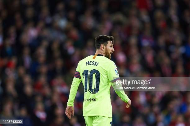 Lionel Messi of FC Barcelona looks on during the La Liga match between Athletic Club and FC Barcelona at San Mames Stadium on February 10 2019 in...