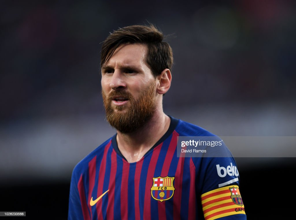 Lionel Messi of FC Barcelona looks on during the La Liga match between FC Barcelona and SD Huesca at Camp Nou on September 2, 2018 in Barcelona, Spain.