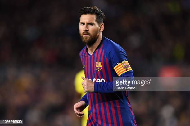 Lionel Messi of FC Barcelona looks on during the La Liga match between FC Barcelona and Villarreal CF at Camp Nou on December 02 2018 in Barcelona...