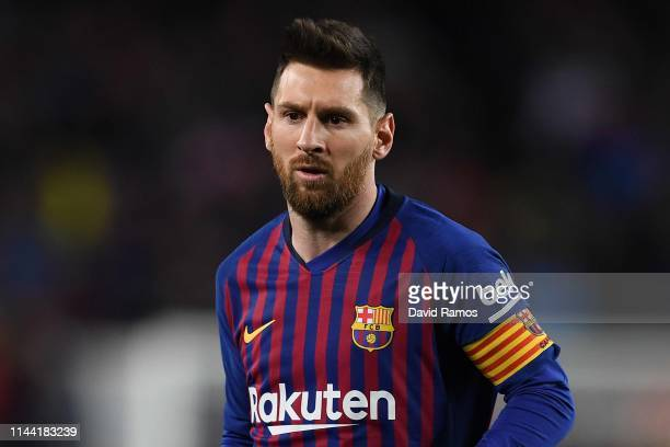 Lionel Messi of FC Barcelona looks on during the La Liga match between FC Barcelona and Real Sociedad at Camp Nou on April 20 2019 in Barcelona Spain