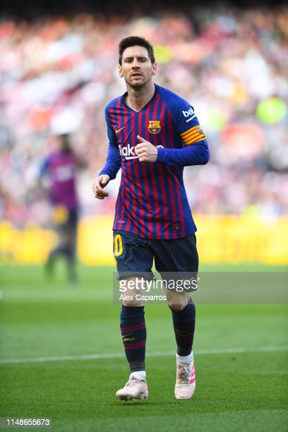 Lionel Messi of FC Barcelona looks on during the La Liga match between FC Barcelona and Getafe CF at Camp Nou on May 12 2019 in Barcelona Spain