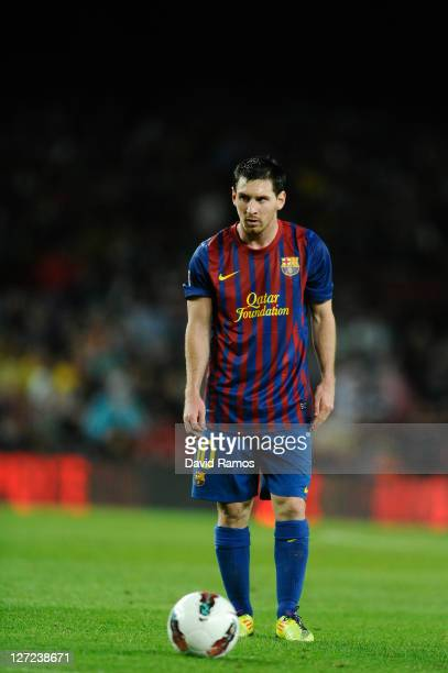 Lionel Messi of FC Barcelona looks on during the La Liga match between FC Barcelona and Club Atletico de Madrid at Camp Nou on September 24, 2011 in...