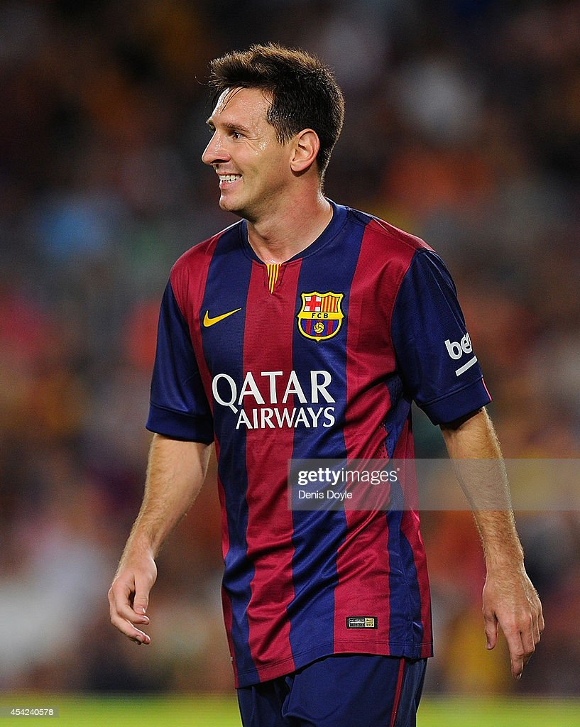 Lionel Messi of FC Barcelona looks on during the La Liga match between FC Barcelona and Elche FC at Camp Nou stadium on August 24, 2014 in Barcelona, Spain.