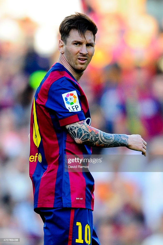 Lionel Messi of FC Barcelona looks on during the La Liga match between FC Barcelona and Real Sociedad de Futbol at Camp Nou on May 9, 2015 in Barcelona, Spain.