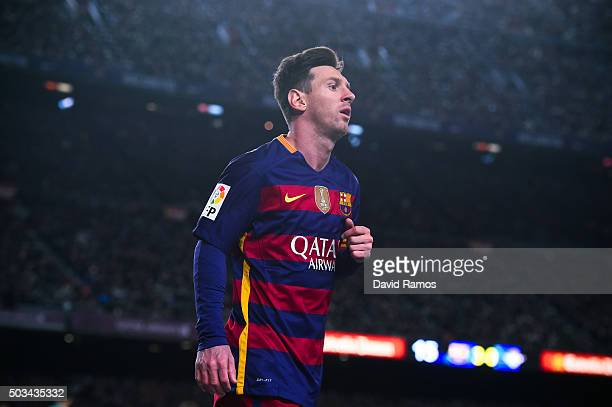 Lionel Messi of FC Barcelona looks on during the La Liga match between FC Barcelona and Real Betis Balompie at Camp Nou on December 30 2015 in...