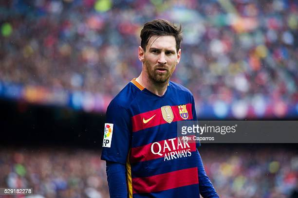 Lionel Messi of FC Barcelona looks on during the La Liga match between FC Barcelona and RCD Espanyol at Camp Nou on May 8 2016 in Barcelona Spain