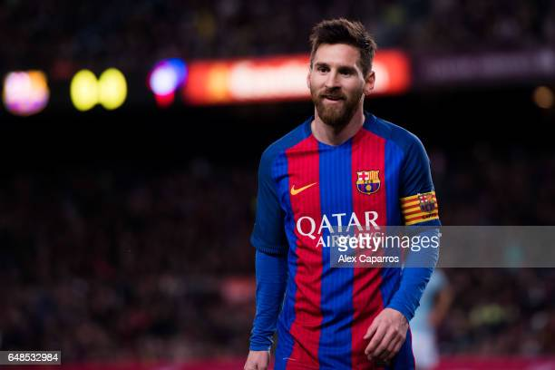 Lionel Messi of FC Barcelona looks on during the La Liga match between FC Barcelona and RC Celta de Vigo at Camp Nou stadium on March 4 2017 in...