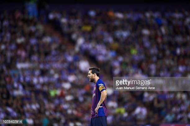 Lionel Messi of FC Barcelona looks on during the La Liga match between Real Valladolid CF and FC Barcelona at Jose Zorrilla on August 25, 2018 in...