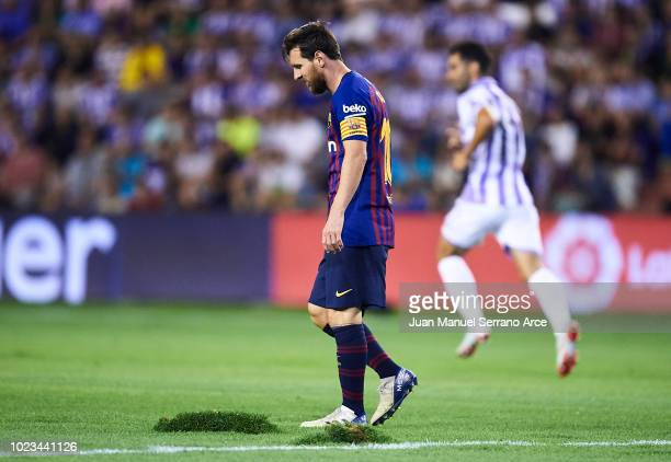 Lionel Messi of FC Barcelona looks on during the La Liga match between Real Valladolid CF and FC Barcelona at Jose Zorrilla on August 25 2018 in...