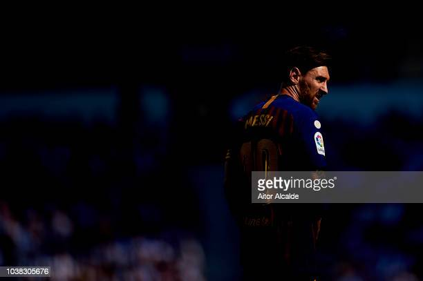 Lionel Messi of FC Barcelona looks on during the La Liga match between Real Sociedad and FC Barcelona at Estadio Anoeta on September 15 2018 in San...