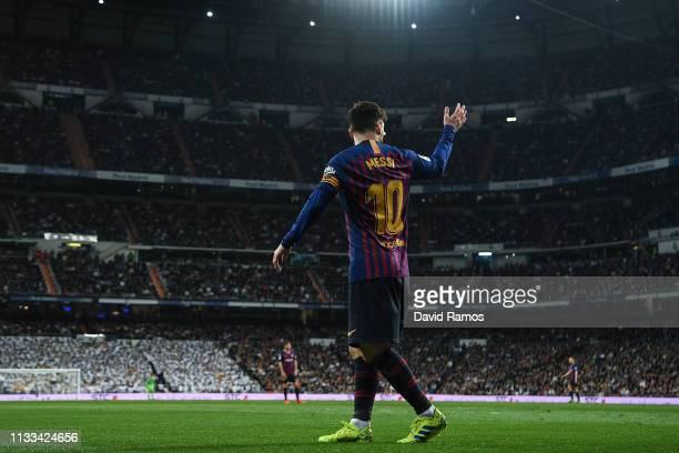 Lionel Messi of FC Barcelona looks on during the La Liga match between Real Madrid CF and FC Barcelona at Estadio Santiago Bernabeu on March 02 2019...