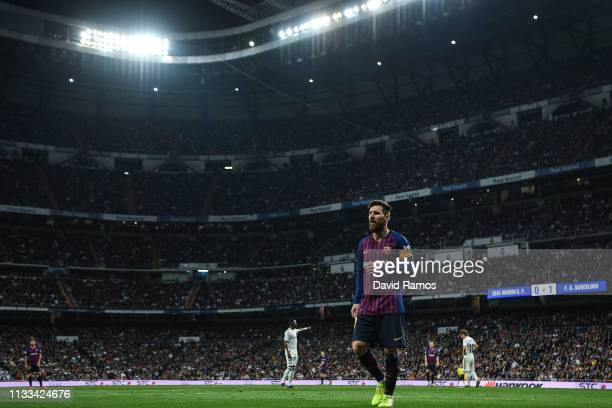 Lionel Messi of FC Barcelona looks on during the La Liga match between Real Madrid CF and FC Barcelona at Estadio Santiago Bernabeu on March 02, 2019...