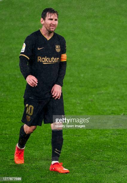 Lionel Messi of FC Barcelona looks on during the La Liga Santander match between RC Celta and FC Barcelona at AbancaBalaídos on October 01 2020 in...