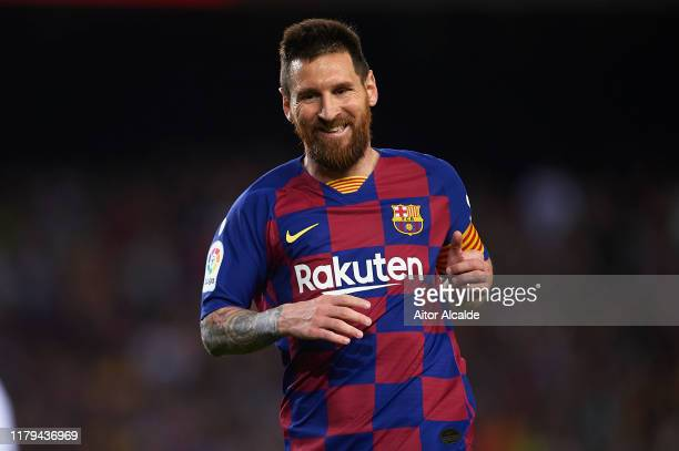 Lionel Messi of FC Barcelona looks on during the Liga match between FC Barcelona and Sevilla FC at Camp Nou on October 06 2019 in Barcelona Spain