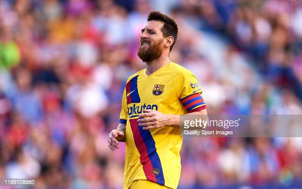 Lionel Messi of FC Barcelona looks on during the Liga match between Levante UD and FC Barcelona at Ciutat de Valencia on November 02 2019 in Valencia...