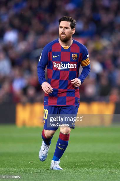 Lionel Messi of FC Barcelona looks on during the Liga match between FC Barcelona and Real Sociedad at Camp Nou on March 07 2020 in Barcelona Spain