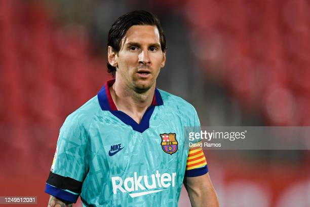 Lionel Messi of FC Barcelona looks on during the Liga match between RCD Mallorca and FC Barcelona at Estadio de Son Moix on June 13 2020 in Mallorca...