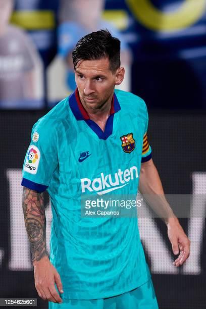 Lionel Messi of FC Barcelona looks on during the Liga match between Villarreal CF and FC Barcelona at Estadio de la Ceramica on July 05 2020 in...