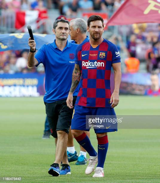 Lionel Messi of FC Barcelona looks on during the match between FC Barcelona and Arsenal at Nou Camp on August 04 2019 in Barcelona Spain