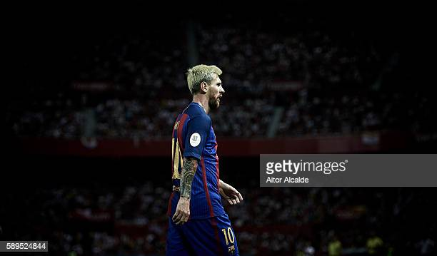 Lionel Messi of FC Barcelona looks on during the match between Sevilla FC vs FC Barcelona as part of the Spanish Super Cup Final 1st Leg at Estadio...