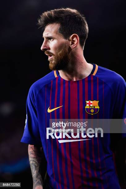 Lionel Messi of FC Barcelona looks on during the UEFA Champions League group D match between FC Barcelona and Juventus at Camp Nou on September 12...