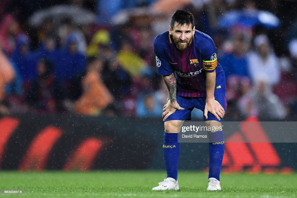 Lionel Messi of FC Barcelona looks on during the UEFA Champions League group D match between FC Barcelona and Olympiakos Piraeus at Camp Nou on October 18, 2017 in Barcelona, Spain.