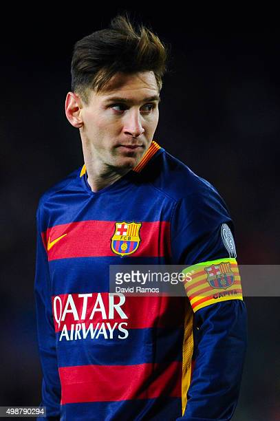 Lionel Messi of FC Barcelona looks on during the UEFA Champions League Group E match between FC Barcelona and AS Roma at Camp Nou stadium on November...