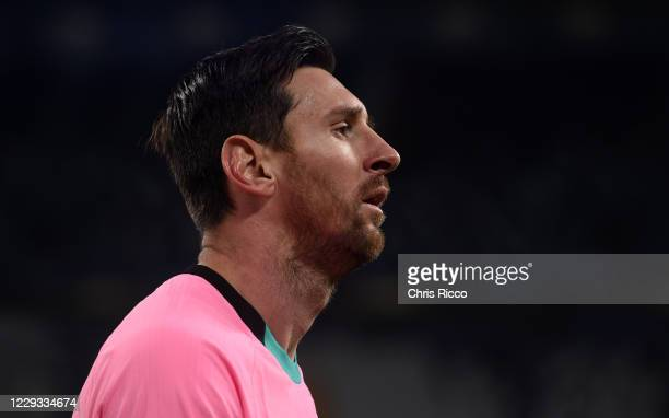 Lionel Messi of FC Barcelona looks on during the UEFA Champions League Group G stage match between Juventus and FC Barcelona at Juventus Stadium on...