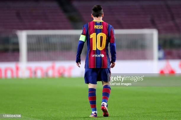 Lionel Messi of FC Barcelona looks on during the UEFA Champions League Group G stage match between FC Barcelona and Juventus at Camp Nou on December...