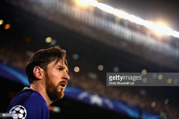 Lionel Messi of FC Barcelona looks on during the UEFA Champions League Round of 16 Second Leg match between FC Barcelona and Chelsea FC at Camp Nou...