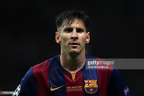 Lionel Messi of FC Barcelona looks on during the UEFA Champions League Final match between Juventus and FC Barcelona at the Olympiastadion on June 6...