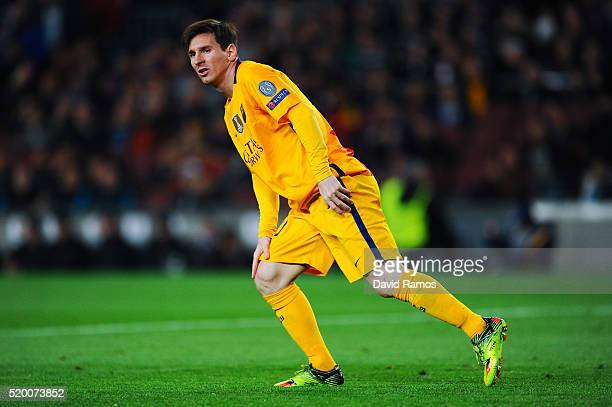 Lionel Messi of FC Barcelona looks on during the UEFA Champions League quarter final first leg match between FC Barcelona and Club Atletico de Madrid...