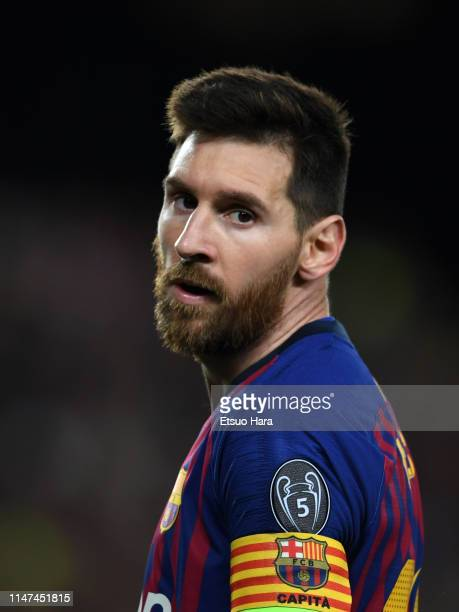 Lionel Messi of FC Barcelona looks on during the UEFA Champions League Semi Final first leg match between Barcelona and Liverpool at the Nou Camp on...