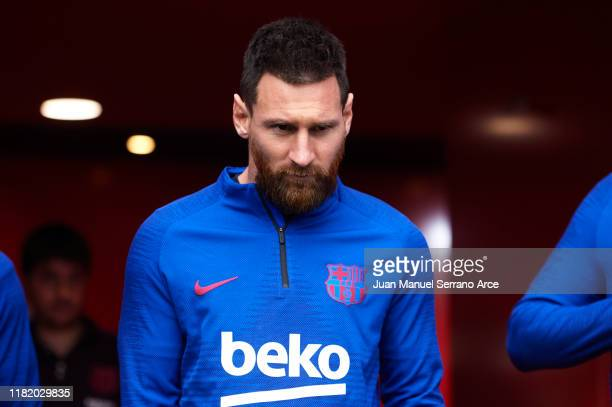 Lionel Messi of FC Barcelona looks on during the warm up prior to the Liga match between SD Eibar SAD and FC Barcelona at Ipurua Municipal Stadium on...