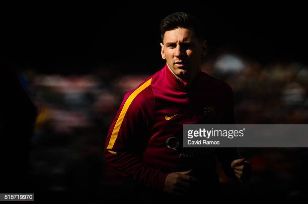 Lionel Messi of FC Barcelona looks on during the warm up prior to the La Liga match between FC Barcelona and Getafe CF at Camp Nou on March 12 2016...