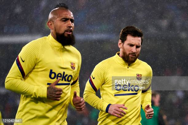Lionel Messi of FC Barcelona looks on prior the game during the Liga match between Real Madrid CF and FC Barcelona at Estadio Santiago Bernabeu on...