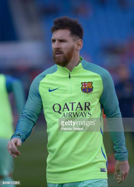 Lionel Messi of FC Barcelona looks on prior the La Liga match between Atletico Madrid and FC Barcelona at Vicente Calderon Stadium on February 26...