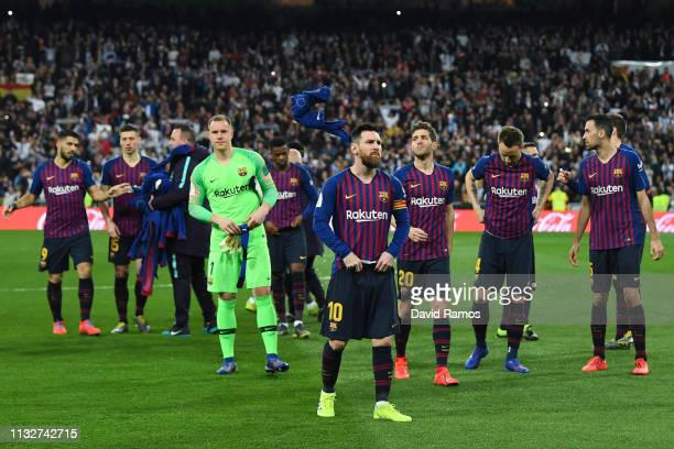 Lionel Messi of FC Barcelona looks on prior to the kick off during the Copa del Semi Final match second leg between Real Madrid and Barcelona at...