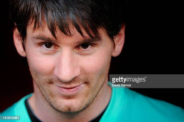 Lionel Messi of FC Barcelona looks on prior to the La Liga match between RCD Mallorca and FC Barcelona at Iberostar Stadium on March 24 2012 in...