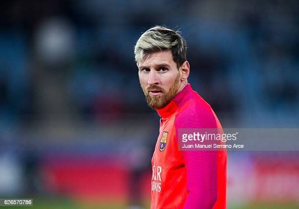 Lionel Messi of FC Barcelona looks on prior to the start the La Liga match between Real Sociedad de Futbol and FC Barcelona at Estadio Anoeta on...