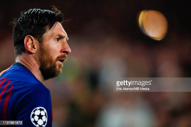Lionel Messi of FC Barcelona looks the action before a shoots a kick shot during the UEFA Champions League Quarter Final second leg match between FC...