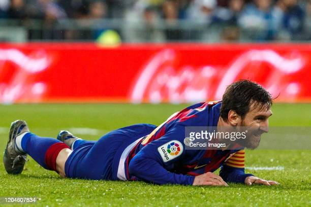 Lionel Messi of FC Barcelona loosk dejected during the Liga match between Real Madrid CF and FC Barcelona at Estadio Santiago Bernabeu on March 1...