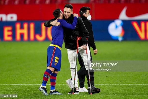 Lionel Messi of FC Barcelona, Lucas Ocampos of Sevilla FC during the Spanish Copa del Rey match between Sevilla v FC Barcelona at the Estadio Ramon...