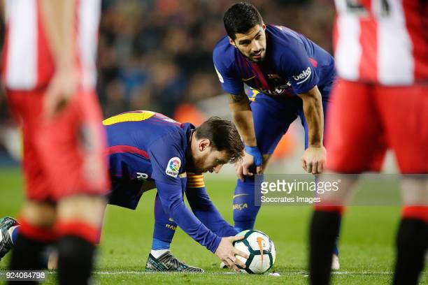 Lionel Messi of FC Barcelona Luis Suarez of FC Barcelona during the La Liga Santander match between FC Barcelona v Girona at the Camp Nou on February...