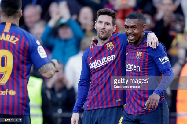 Lionel Messi of FC Barcelona, Malcom of FC Barcelona celebrate goal during the La Liga Santander match between FC Barcelona v Espanyol at the Camp...