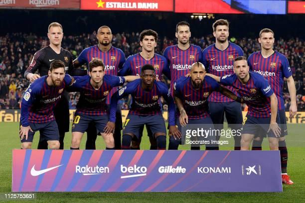 Lionel Messi of FC Barcelona Marc Andre ter Stegen of FC Barcelona Sergi Roberto of FC Barcelona Kevin Prince Boateng of FC Barcelona Ousmane Dembele...