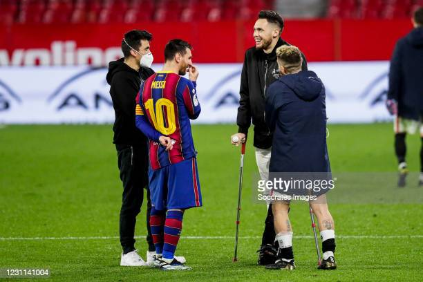 Lionel Messi of FC Barcelona, Marcos Acuna of Sevilla FC, Lucas Ocampos of Sevilla FC, Papu Gomez of Sevilla FC during the Spanish Copa del Rey match...