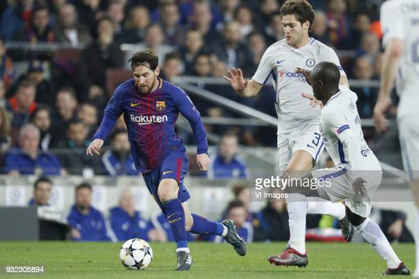 Lionel Messi of FC Barcelona Marcos Alonso of Chelsea FC N'Golo Kante of Chelsea FC during the UEFA Champions League round of 16 match between FC...