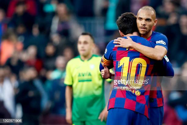Lionel Messi of FC Barcelona, Martin Braithwaite of FC Barcelona celebrates the victory during the La Liga Santander match between FC Barcelona v...