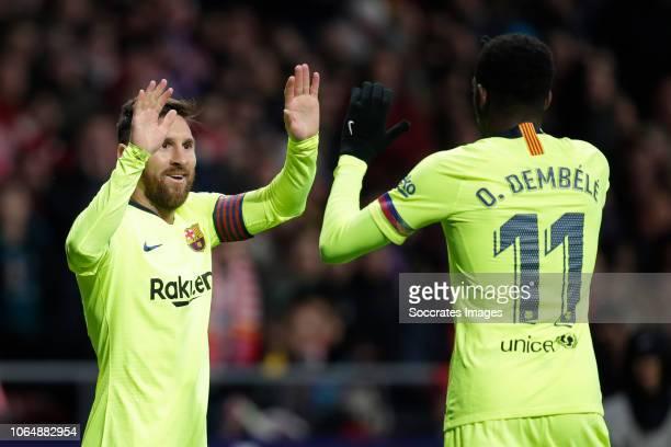 Lionel Messi of FC Barcelona Ousmane Dembele of FC Barcelona during the La Liga Santander match between Atletico Madrid v FC Barcelona at the Estadio...